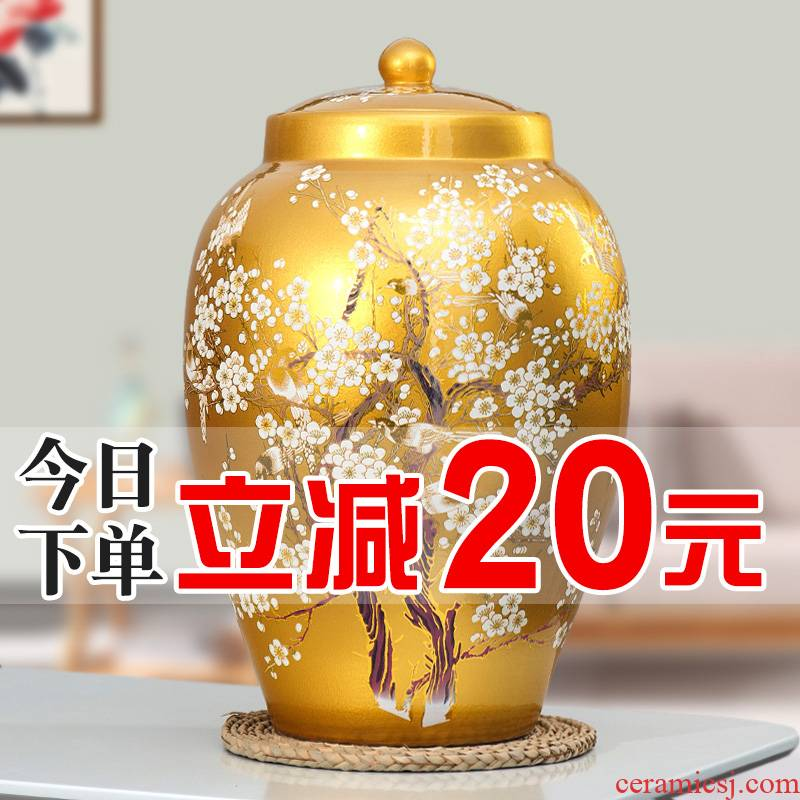 Jingdezhen barrel ricer box 20 jins 30 jins of 50 kg pack household ceramics moistureproof cylinder with cover cylinder tank storage tank