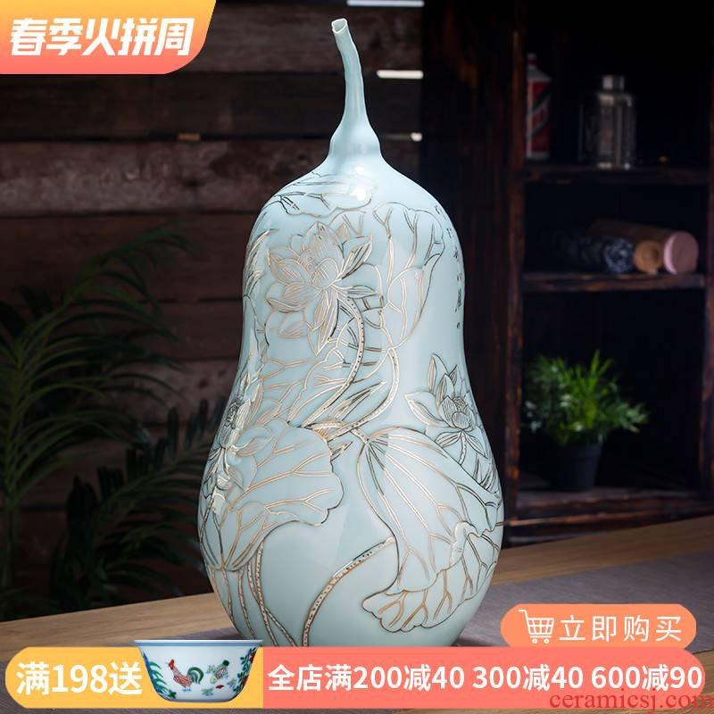The Master of jingdezhen ceramic fuels the vase hand - made shadow blue lotus gourd bottle of Angle of the sitting room of Chinese style household furnishing articles