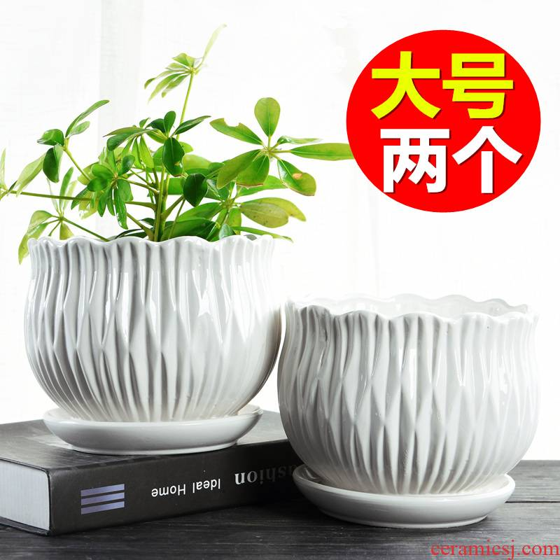Large Chinese wind the balcony flowerpot ceramics with tray was creative move money plant contracted household flowerpot more meat on sale