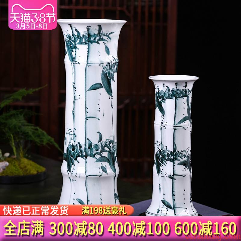 Jingdezhen ceramic lucky bamboo vases, flower arranging furnishing articles sitting room be born king high straight aquatic culture flower arrangement