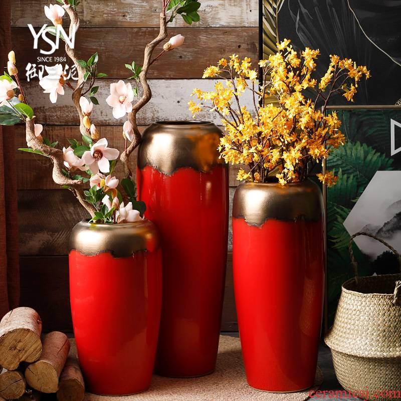 Ceramic vases, flower arrangement sitting room place modern dry flower of Chinese style restoring ancient ways is festival big be born jingdezhen porcelain flowerpot