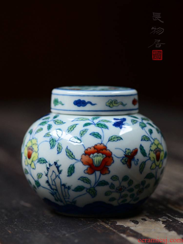 Offered home - cooked at flavour hand - made color bucket ganoderma lucidum trumpet jingdezhen ceramic tea caddy fixings storehouse checking porcelain tea set