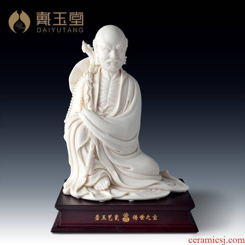 Yutang dai dehua white porcelain master Su Qinghe its art collection/sit dharma hand sign the orphan works