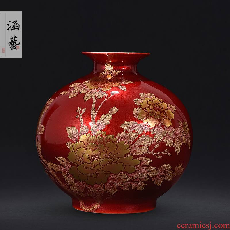 Jingdezhen ceramics festival Chinese red vase flower arranging creative home sitting room TV ark adornment furnishing articles
