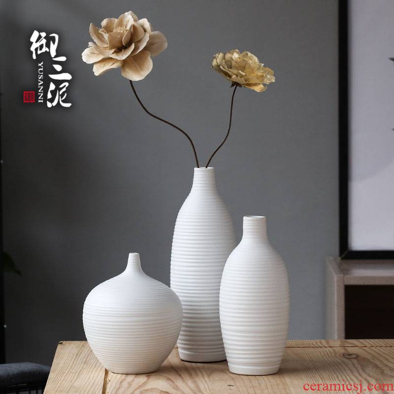 Coarse pottery white porcelain dried flower vase contracted and I the white flower arrangement home sitting room adornment ceramics furnishing articles