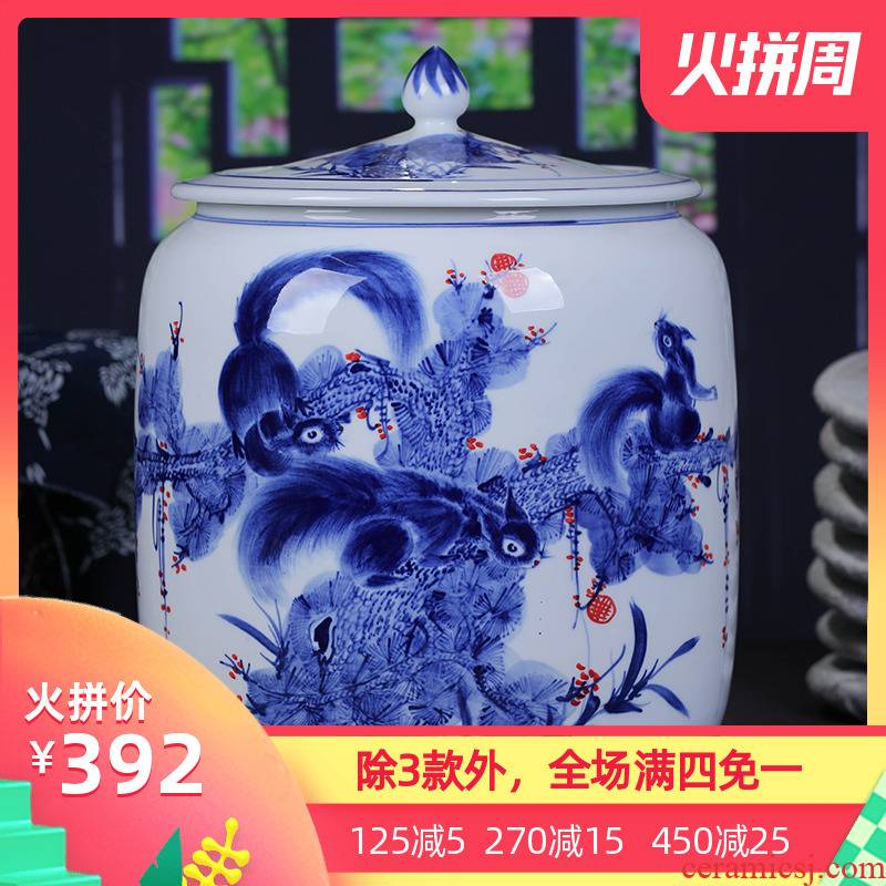 Jingdezhen ceramic hand - made porcelain tea pot large POTS of tea cake storage tank ten loaves puer tea cylinder