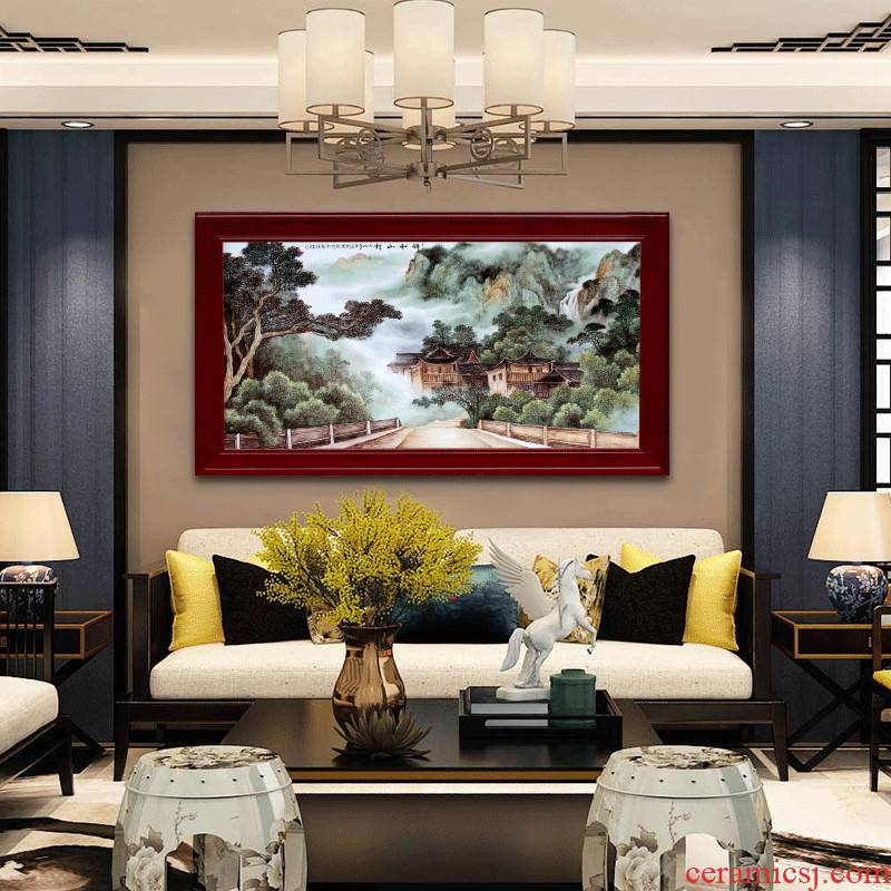 Jingdezhen ceramic hand - made famille rose porcelain plate painting murals sofa background wall of the sitting room adornment picture of modern Chinese style hang a picture