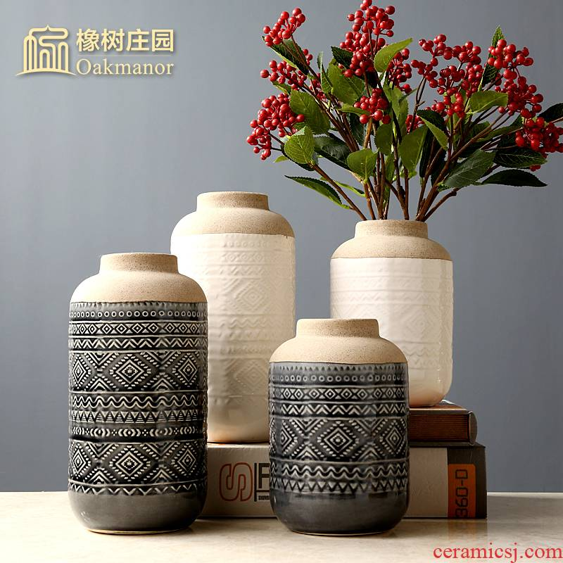 Nordic creative ceramic vase restoring ancient ways American household living room table flower arranging furnishing articles Holly dried flowers adornment flowers