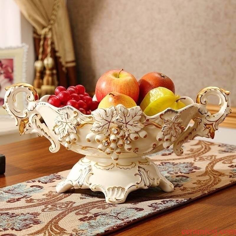 Set auger European ornamental fruit bowl sitting room key-2 luxury creative household high - grade ceramic handicraft furnishing articles fruit bowl tea table