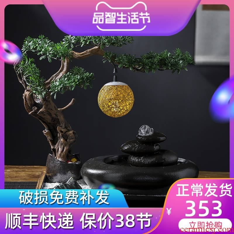 New Chinese style water apparatus zen ceramic water fountain furnishing articles feng shui wheel lucky sitting room to open the gift and the desktop