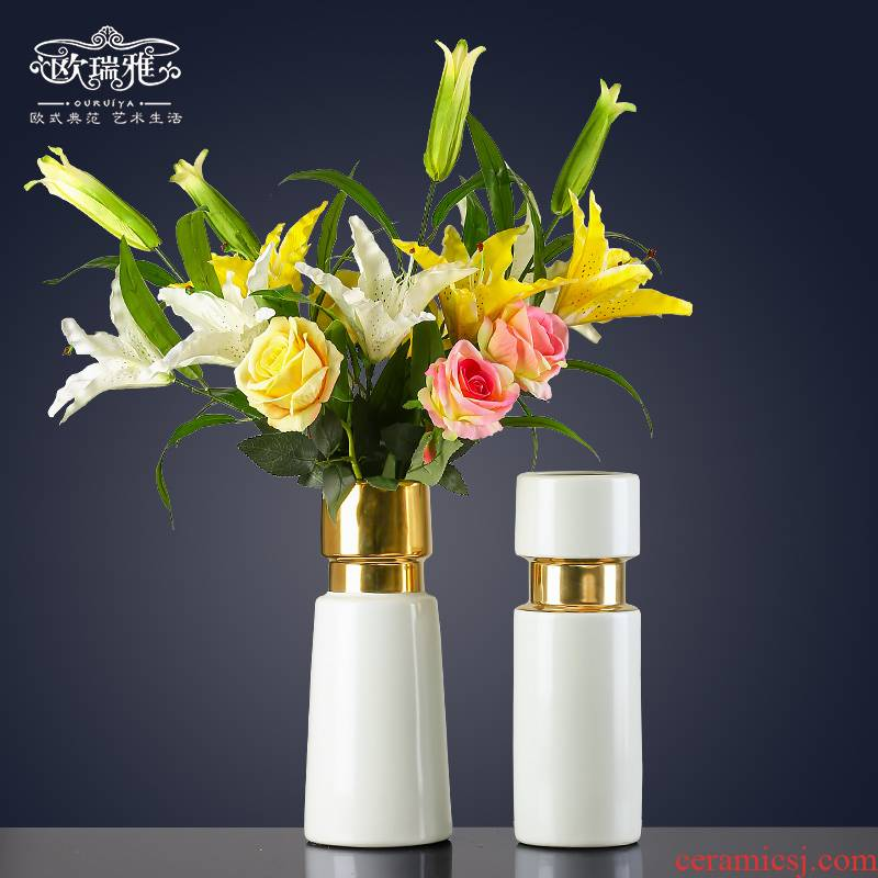 I and contracted ceramic sitting room TV cabinet table creative household dry flower arranging flowers simulation flower vases, decorative furnishing articles