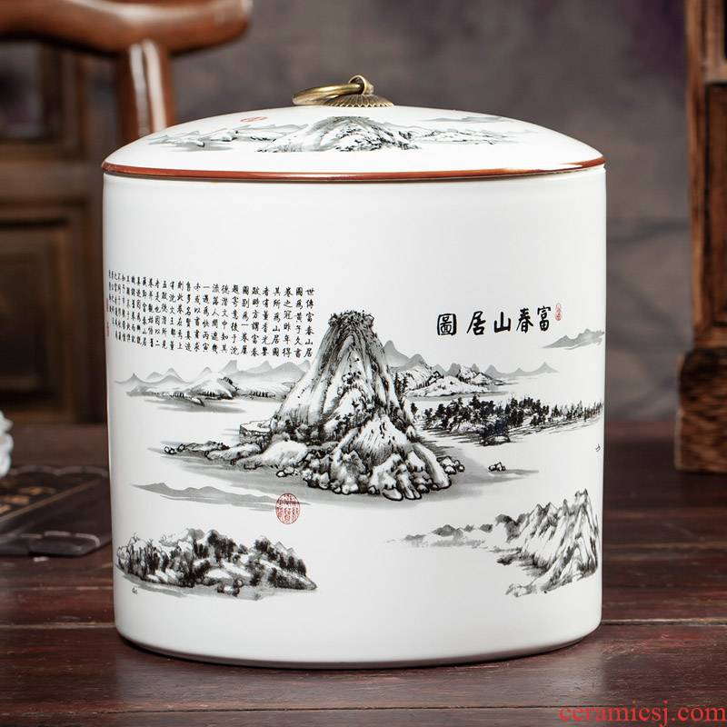 Chinese jingdezhen ceramics caddy fixings large inferior seal pot moistureproof household puer tea storage tanks on figure