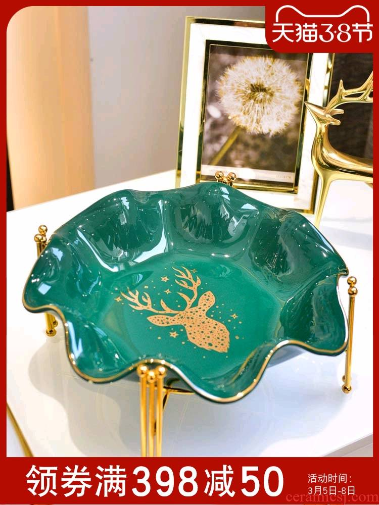 Light compote American key-2 luxury European - style key-2 luxury ceramic big fruit bowl creative I and contracted sitting room tea table decoration furnishing articles