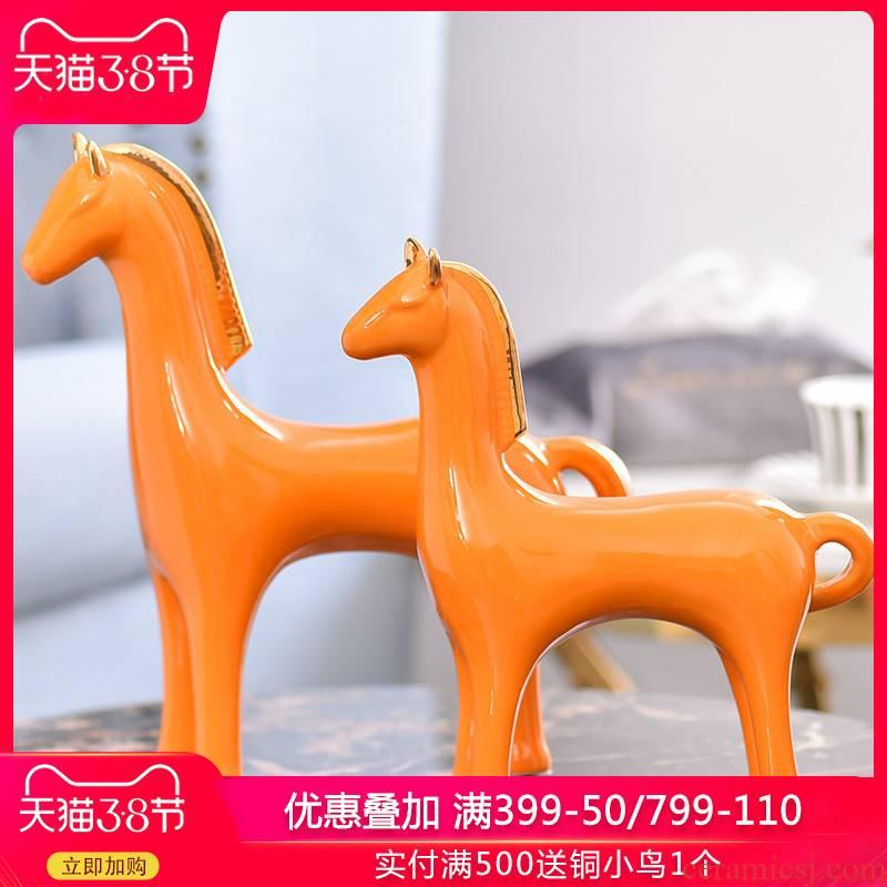 Light European - style key-2 luxury ceramic horse furnishing articles sitting room furniture upholstery creative TV ark, wine crafts