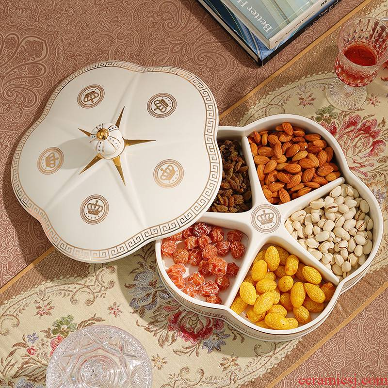 Europe type dry fruit tray frame with cover candy box ceramic bowl sitting room modern creative household melon seeds zero box box