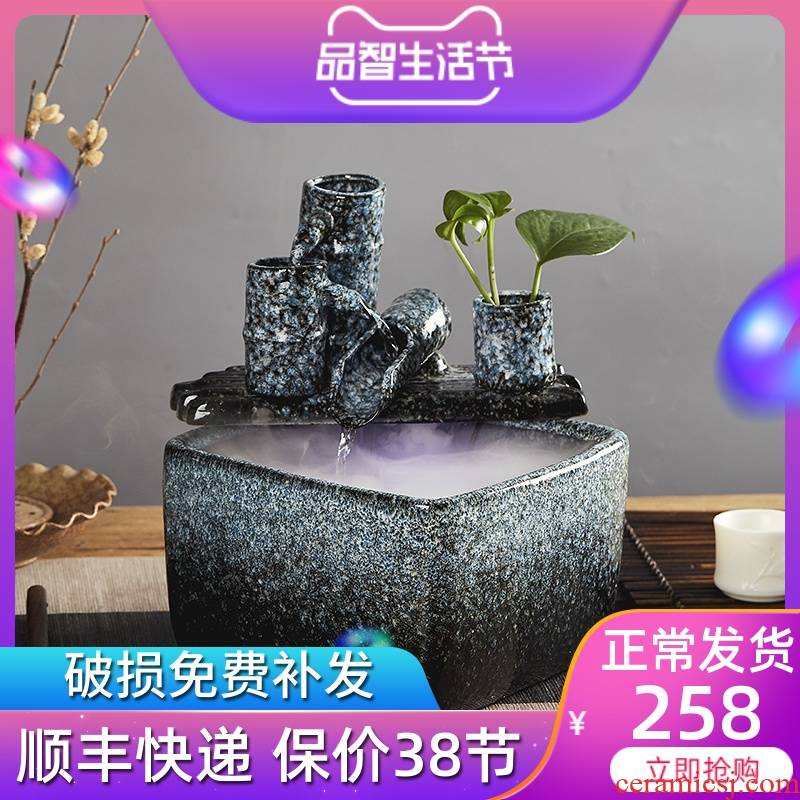 Ceramic water furnishing articles sitting room lucky bamboo creative office desktop furnishing articles at peace and feng shui wheel humidifier