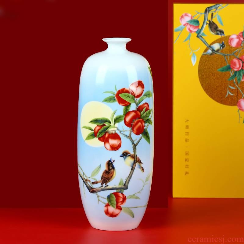 Jingdezhen ceramics persimmon persimmon ruyi pastel floret bottle home sitting room TV ark, handicraft furnishing articles arranging flowers