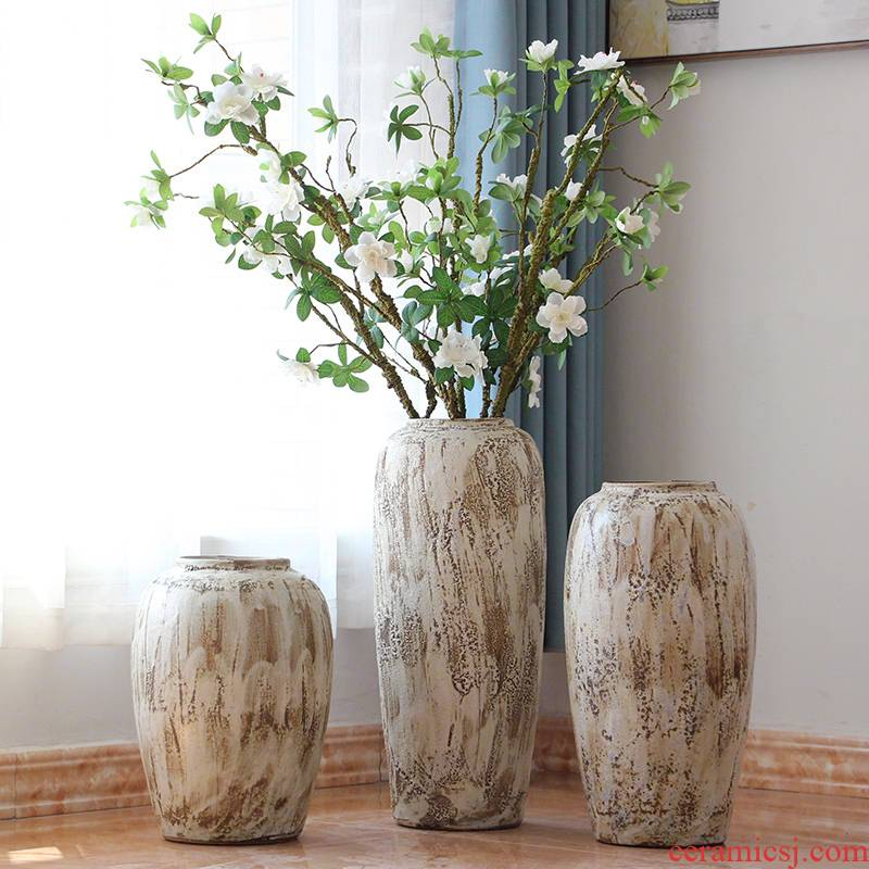 I and contracted coarse pottery jars dried flowers floral sitting room ground vases, ceramic big flowerpot furnishing articles of Europe type restoring ancient ways