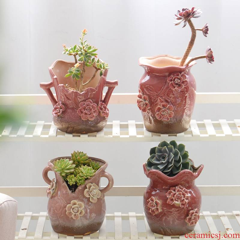 A new large caliber old running the green plant ceramic flower POTS, fleshy flower implement dried flower vase coarse pottery breathable large - sized mage basin