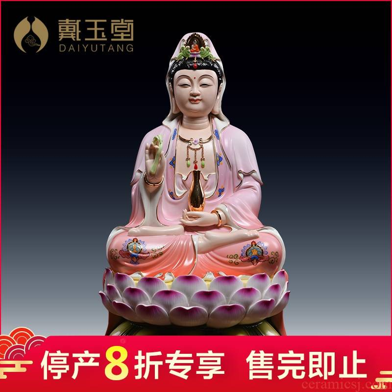 Domestic production is the shelves 】 【 guanyin bodhisattva ceramic powder coat of figure of Buddha zen flower goddess of mercy