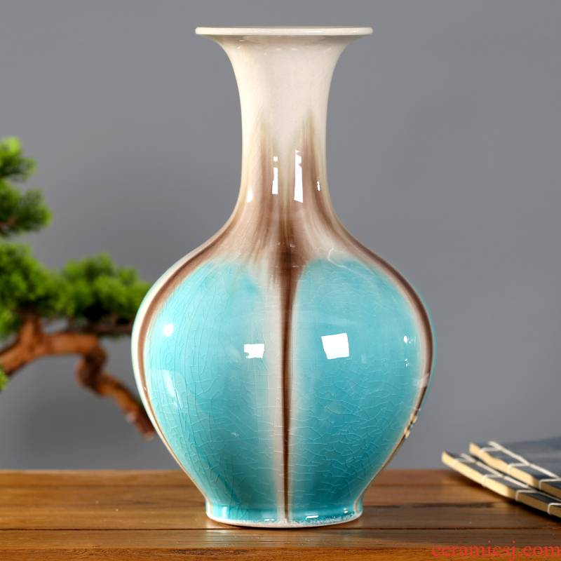 Jingdezhen ceramic household modern pure and fresh and contracted sitting room adornment dry flower flower bottle mesa of office furnishing articles