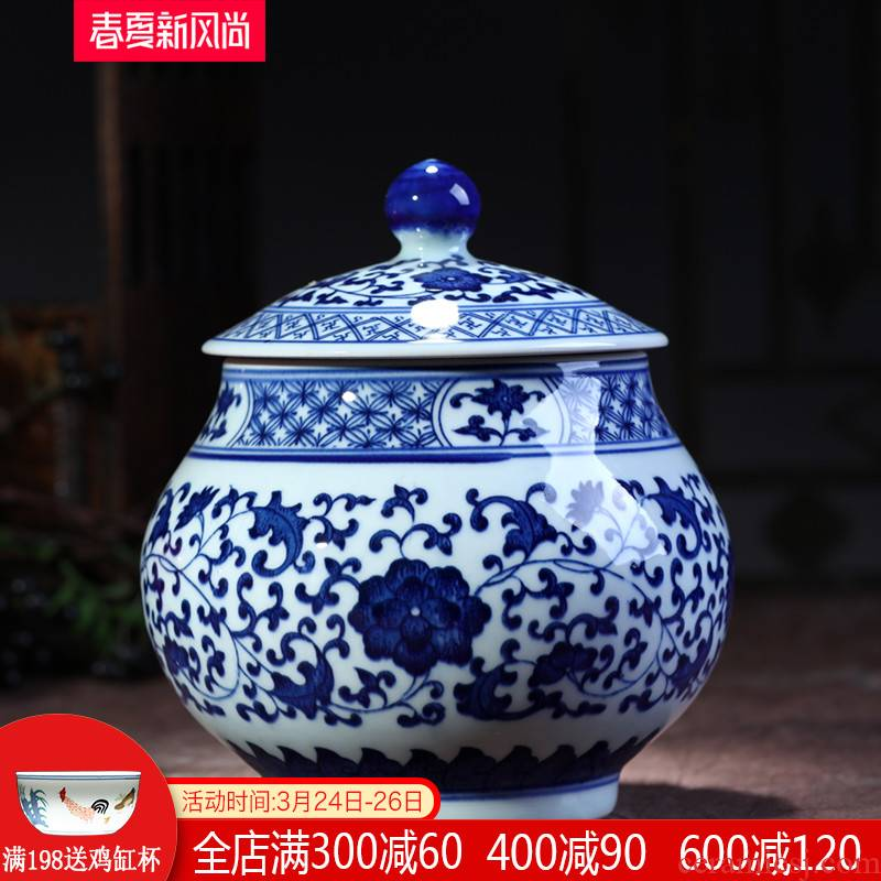 Jingdezhen ceramics antique blue - and - white five good big FuWu auspicious to build storage tank caddy fixings cover home furnishing articles