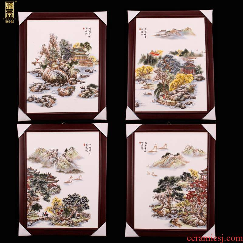 Jingdezhen Chinese wind pastel scenery landscape porcelain plate painting the sitting room is the study of new Chinese style company soft outfit ceramic murals