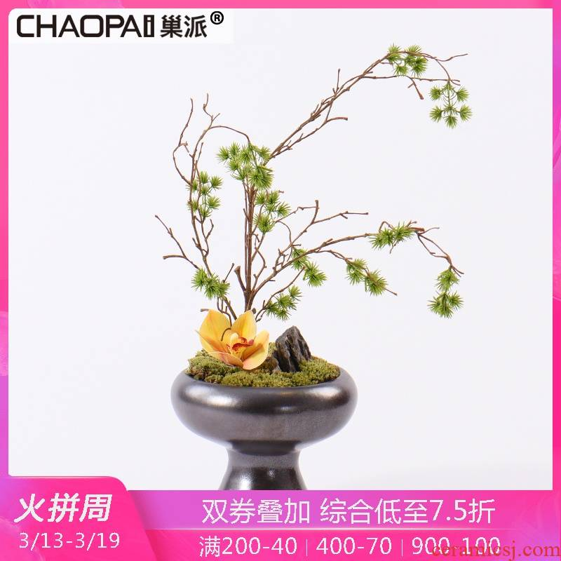 Creative Chinese contracted simulation flower art potted place postmodern sitting room tea table decoration miniascape of ceramic arts and crafts