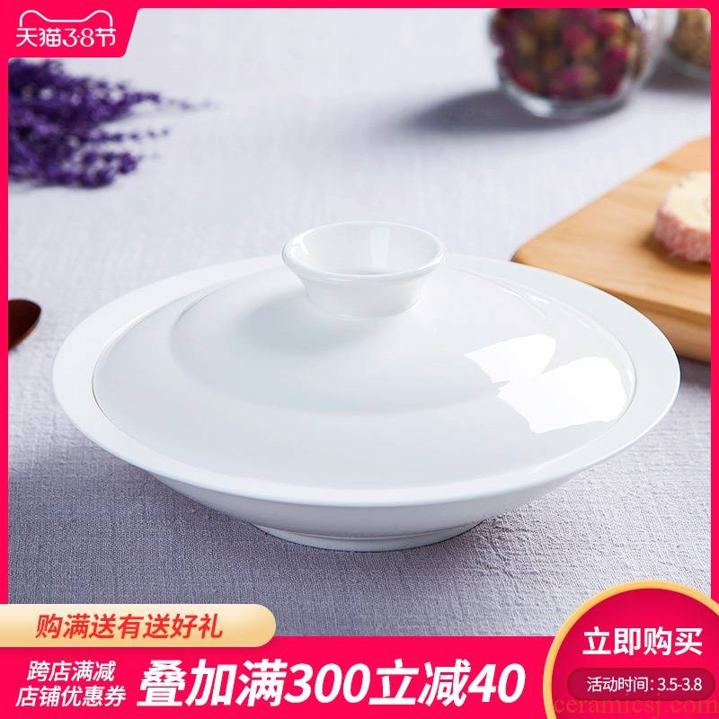 Jingdezhen white soup plate deep dribbling cover plate household ipads porcelain table pure white porcelain dish dish 8 inch combiner