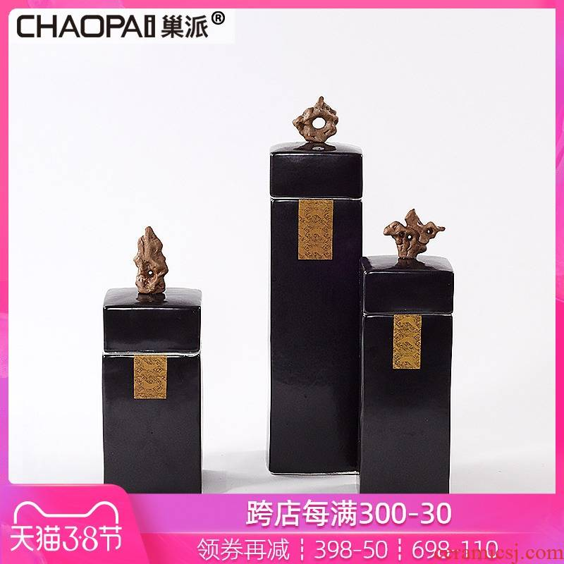 I and contracted square ceramic pot furnishing articles of Chinese style bar decoration light key-2 luxury daily hotel sells porch decoration
