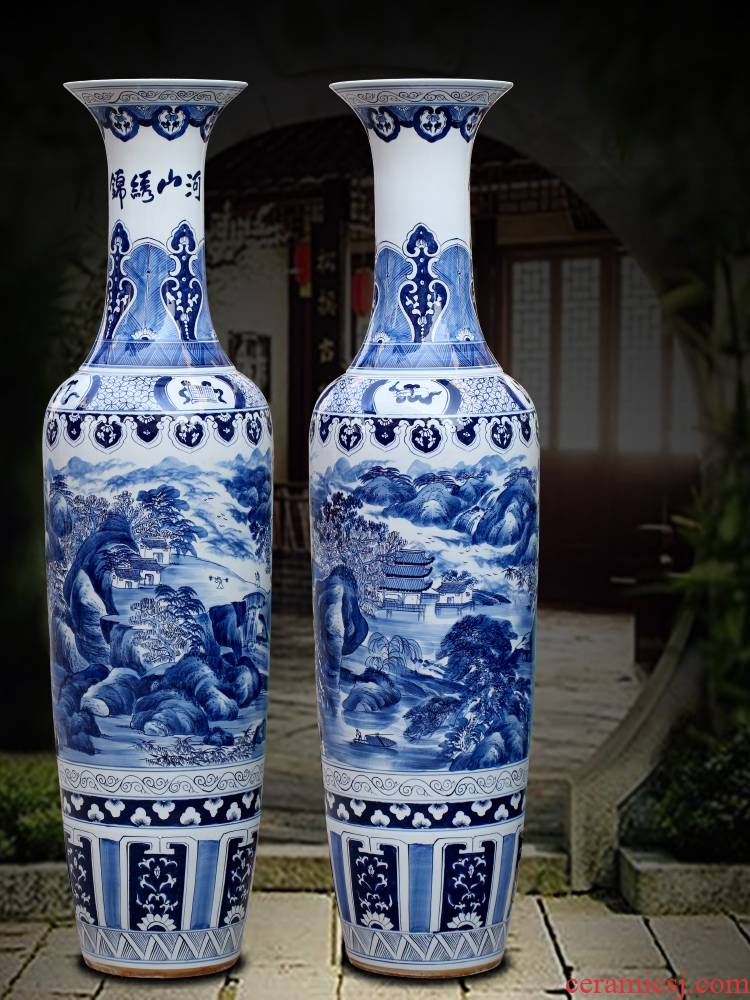 Jingdezhen furnishing articles hand - made kumsusan river of blue and white porcelain vase home sitting room ground adornment opening gifts