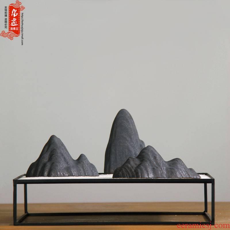 Four bijia mountain put paperweight Four treasures tea pet mountains of jingdezhen ceramic pen mountain brush calligraphy pen rack