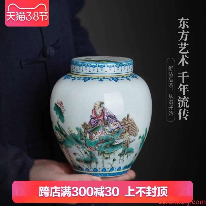 Jingdezhen ceramic all hand - made pastel oi - Lin pu 'er tea pot lid can receive storage of poetry collection of tea