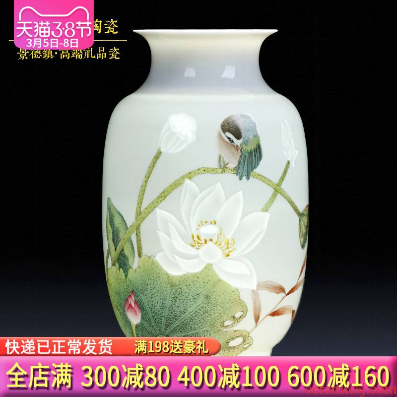Famous master of jingdezhen ceramics all hand hand carved lotus flower vases, flower arranging new Chinese style porch place