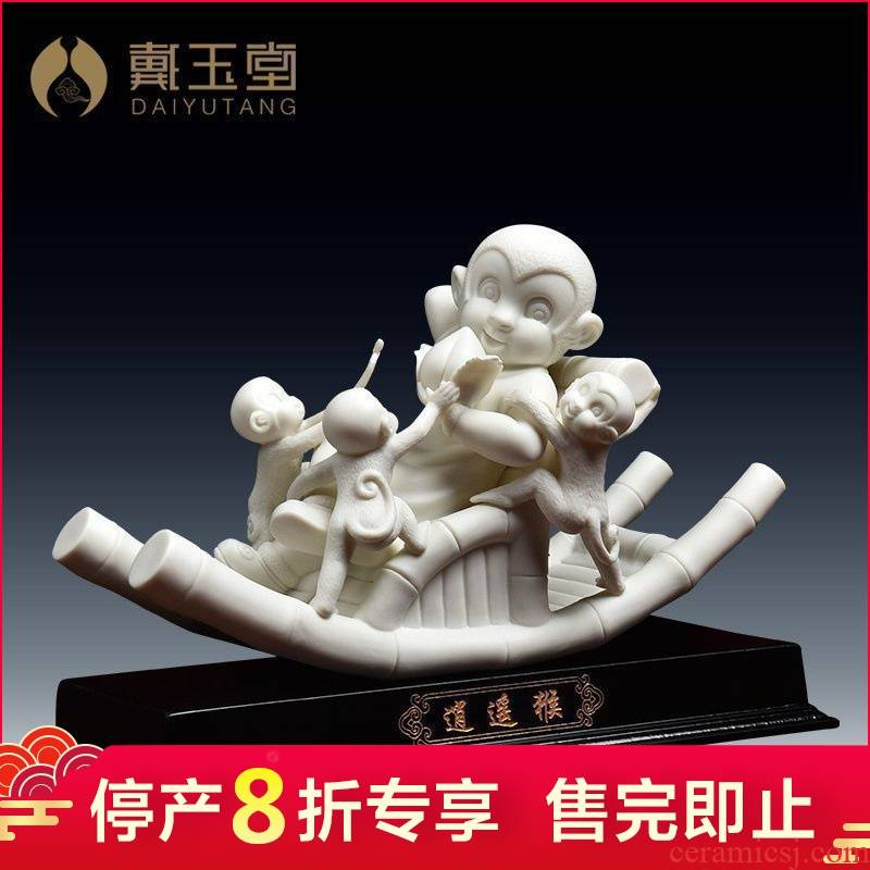Yutang dai mascot furnishing articles dehua porcelain its checking crafts business gifts decoration/happy monkey