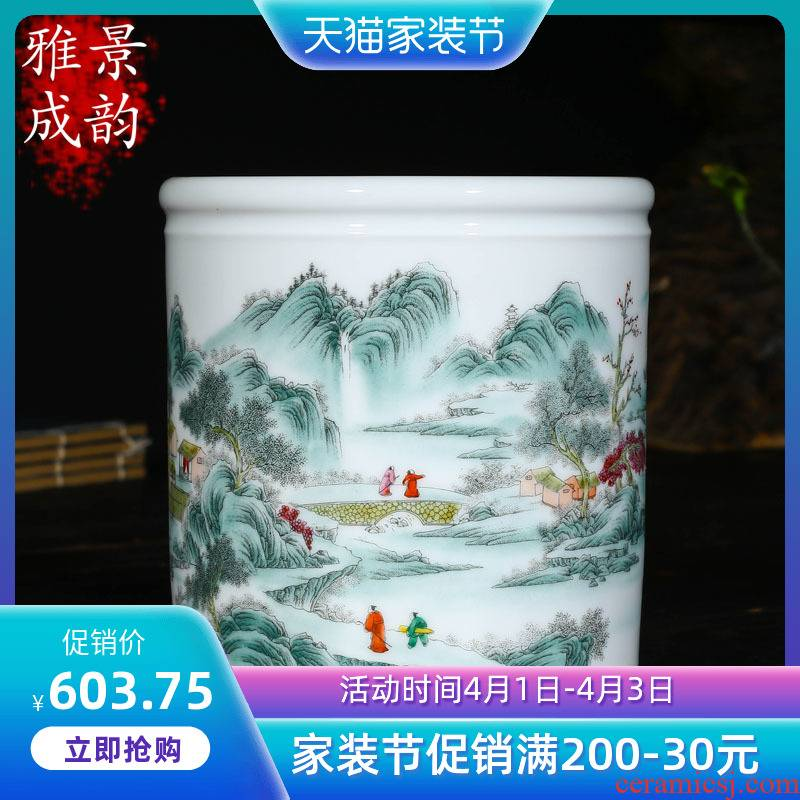 Jingdezhen porcelain brush pot furnishing articles desk of Chinese style arts and crafts version into gifts creative gift