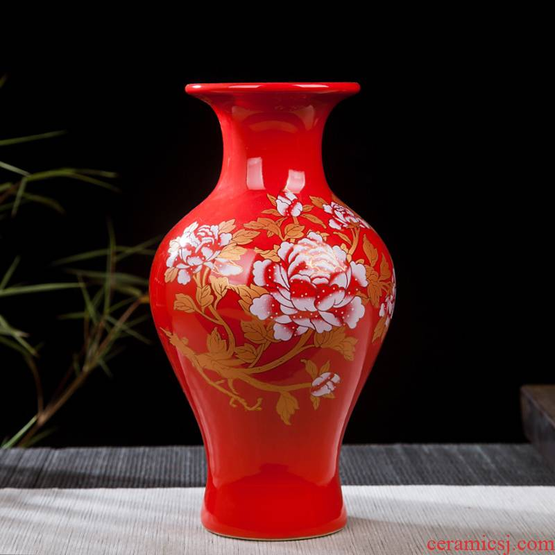 Jingdezhen ceramic floret bottle furnishing articles sitting room flower arranging, Chinese red wine cabinet office decoration home decoration