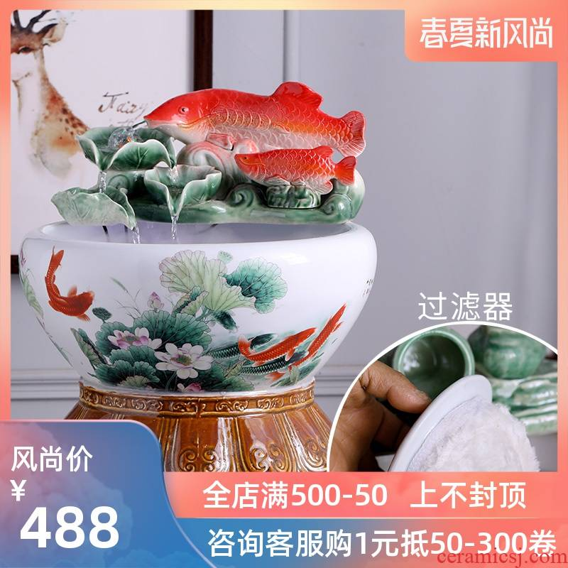 Ceramic water fountain small place atomizing humidifier loop filter feng shui plutus aquarium desktop sitting room adornment