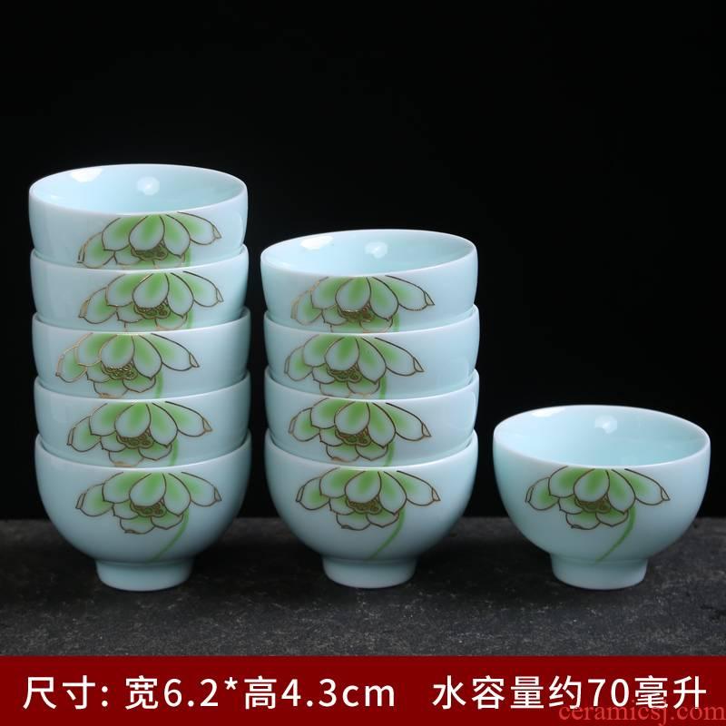 Celadon single cup sample tea cup kung fu tea set tea tray household contracted noggin carp bowl kettle automatically