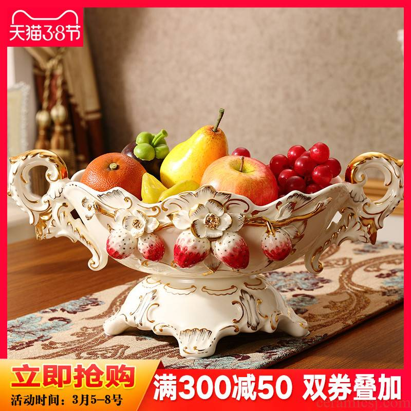 Ou compote three - piece sitting room key-2 luxury modern creative household ceramic fruit bowl tea table furnishing articles suit combinations
