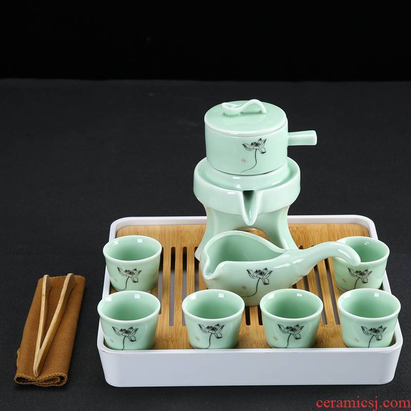 Celadon tea set suits for domestic half automatic stone mill lazy kung fu tea tea caddy fixings tea cups of tea tray
