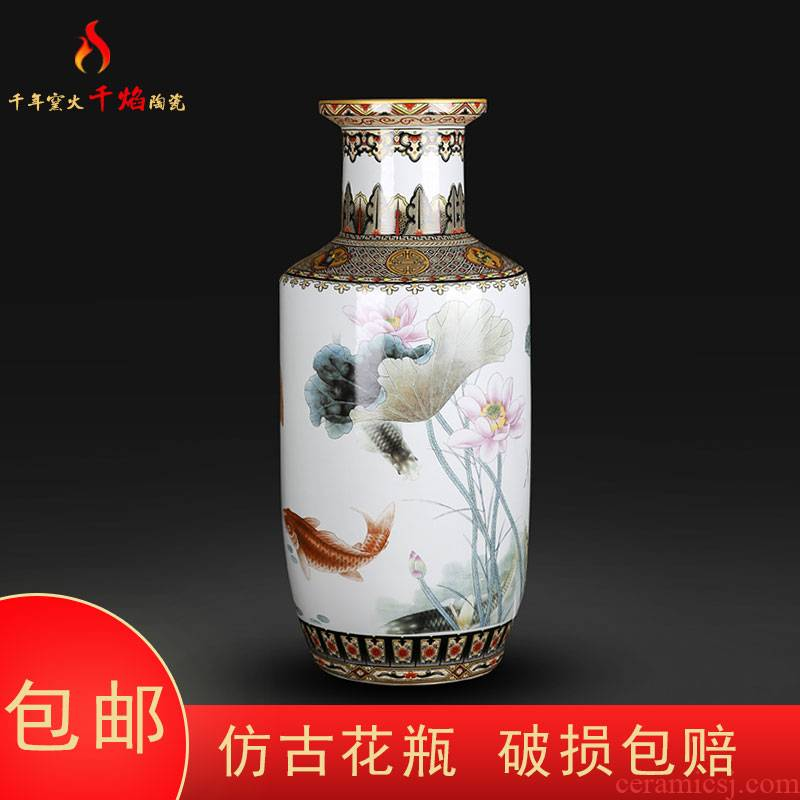 Jingdezhen ceramic vases, flower arrangement of Chinese style living room TV ark, furnishing articles year after year have fish firecrackers bottle home decoration