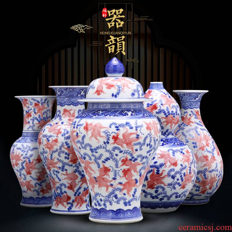 Porcelain of jingdezhen Porcelain vases, pottery and Porcelain place son jar modern new Chinese style household act the role ofing is tasted TV ark, decoration