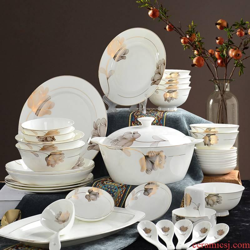 Dishes suit household ipads porcelain tableware suit ceramic porcelain 56 head ou bowl dish dish dish 10 people