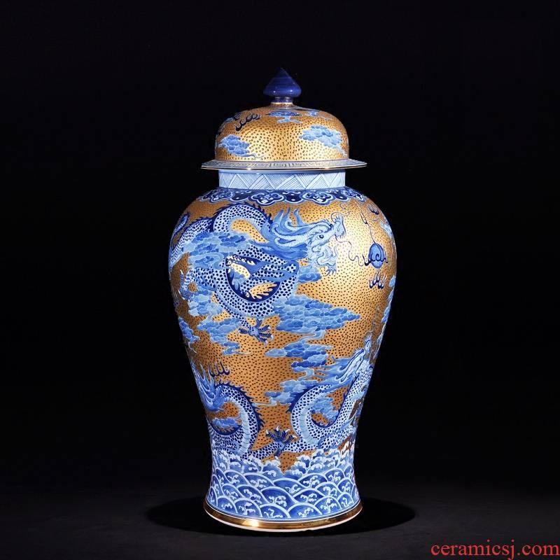 Jingdezhen ceramics high - end antique hand - made with jinlong general pot vase sitting room adornment TV ark, furnishing articles