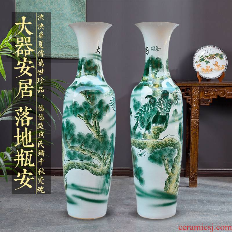 Chinese style of large vase of blue and white porcelain of jingdezhen ceramics hotel opening gifts sitting room adornment is placed