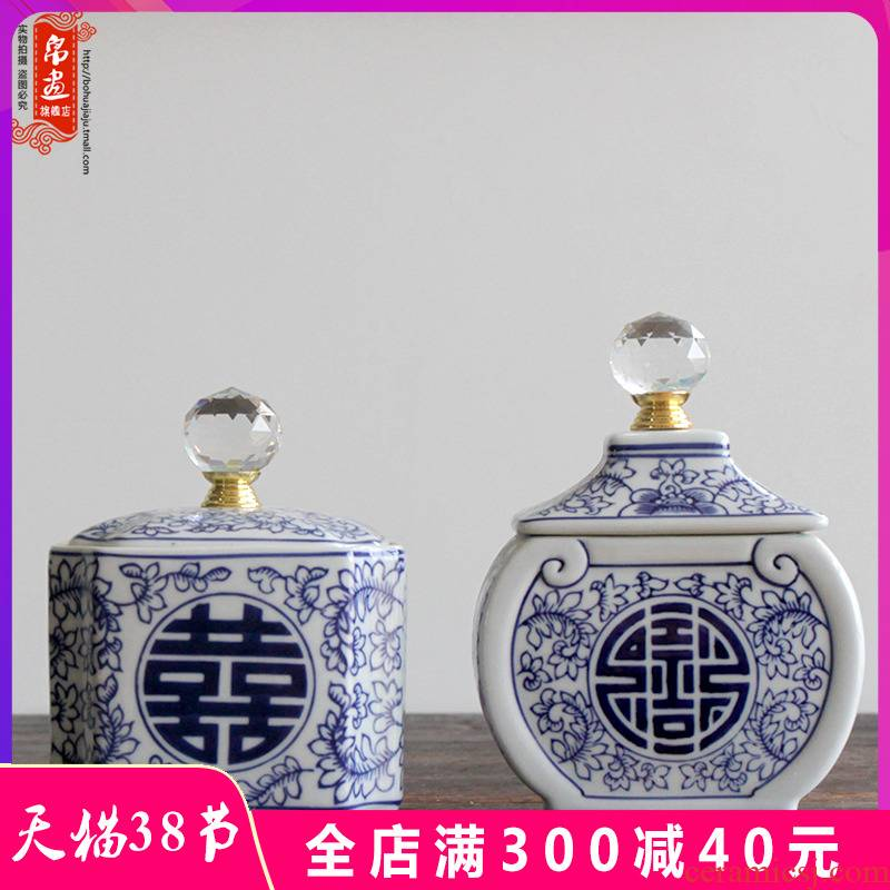 Porch receive furnishing articles of jingdezhen ceramic classical happy character of blue and white porcelain pot home sitting room ark, small decorative flower arrangement
