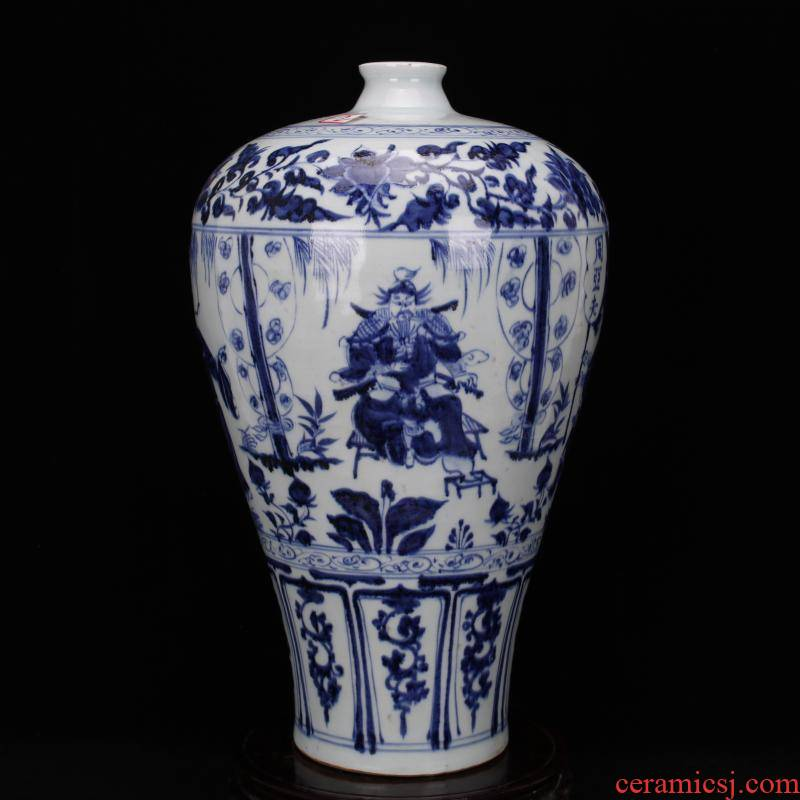 Jingdezhen ceramics yuan blue and white Samson chow story mei bottles of hand play antique antique Chinese style household furnishing articles