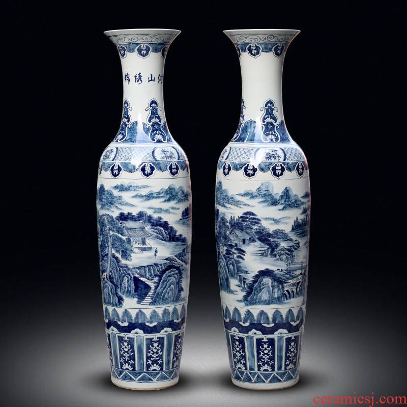 Jingdezhen ceramic vase of large sitting room adornment hand - made of blue and white porcelain hotel opening gifts corridor furnishing articles