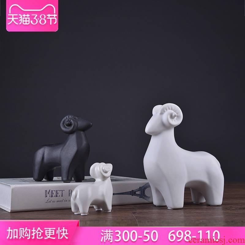 Simple cartoon ceramic lamb new mattress in a small place, three Yang kaitai express animals desk desk decoration